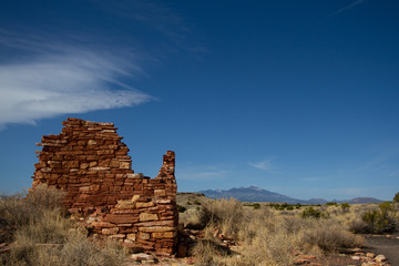 The ruins of ancient Anasazi Lomaki Pueblo are protected inside Wupatki National Monument near Flagstaff, Arizona