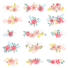Vector flower, petal and leaves collection. Colorful floral set. Vector template illustration for create invitation, cards or for your personal creative design.