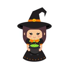 cartoon cute witch with cauldron vector