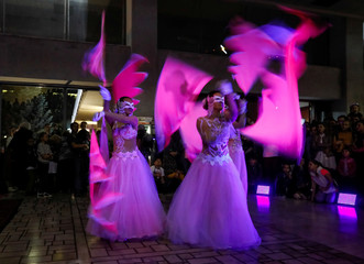 Artists perform during the Night in the Museum, cultural event dedicated to the International Museum Day, in Almaty