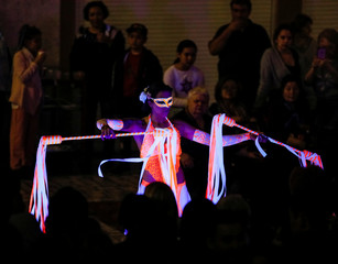 An artist performs during the Night in the Museum, cultural event dedicated to the International Museum Day, in Almaty