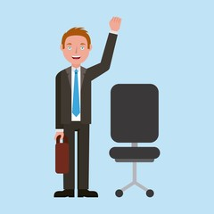 teacher greeting character and office chair learning education vector illustration