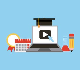 learning education teaching laptop player calendar graduation vector illustration