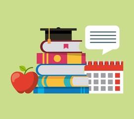 learning education stacked books calendar apple graduation hat vector illustration