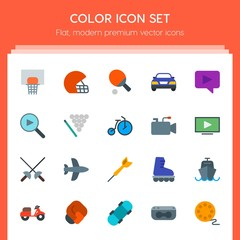 Modern Simple Set of transports, sports, video, buildings Vector flat Icons. Contains such Icons as  bike,  basket,  vehicle,  boat,  airplane and more on red background. Fully Editable. Pixel Perfect