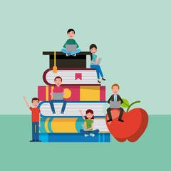 many students sitting in stacked books and graduation cap learning education vector illustration