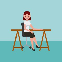 office woman at desk chair learning education vector illustration