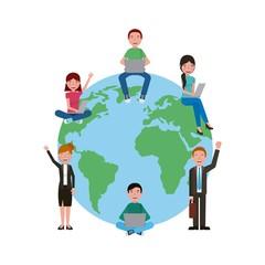 learning education students sitting on globe world vector illustration
