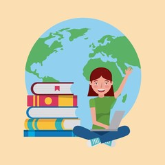 student girl with laptop books world learning vector illustration