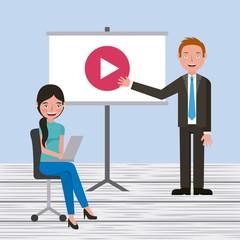 professor teaching student girl on classroom learning vector illustration
