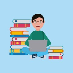 student boy using laptop stacked books learning vector illustration
