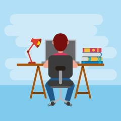 back view student boy learning at desk with computer and books vector illustration