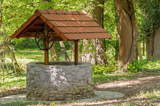 a stone well with a roof in the middle of a forest