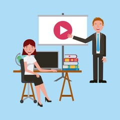 teachers with video screen computer books in classroom learning vector illustration