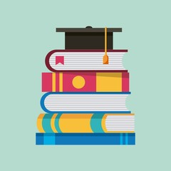 stacked books literature graduation cap learning vector illustration