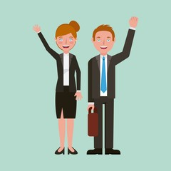 teacher man and woman professional characters vector illustration