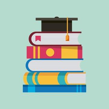 stacked books literature graduation cap learning vector illustration