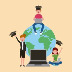 teacher woman and students laptop world learning vector illustration