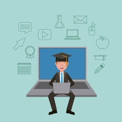 teacher sitting on big laptop with graduation cap learning vector illustration