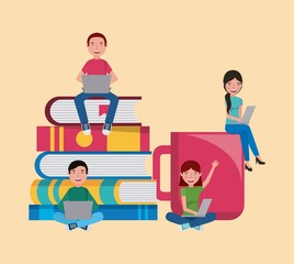 group students with books and coffee cup learning vector illustration