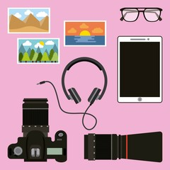 photographic camera mobile headphones and photos activity work equipment vector illustration