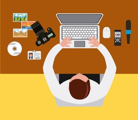 man working laptop camera desk and view from above vector illustration
