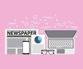 newspaper smartphone laptop document and glasses vector illustration