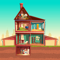 Vector three-story house interior in cross section with basement and garage. Cartoon multistorey private building. Attic, living room, bathroom, laundry in cellar. Architecture background