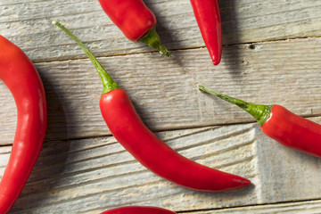 Raw Red Organic Hot Finger Peppers