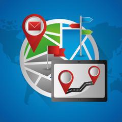 tablet computer road tracking destination gps navigation application vector illustration