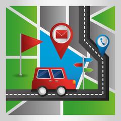 cartoon car road route gps navigation application vector illustration