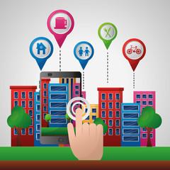 hand clickling city location pointer map gps navigation application vector illustration