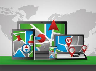 gps navigation application differents devices gadgets vector illustration