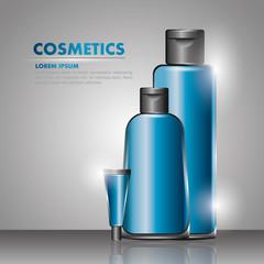 cosmetics shampoo grl tube cream gray background vector illustration