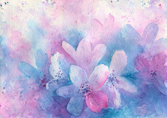 Abstract pink blue flowers. Watercolor artwork
