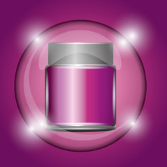 cosmetic container powder pink glowing background vector illustration