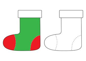 Felt boot cartoon. Coloring book for children. Vector illustration.