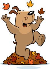 Cartoon Dog Autumn
