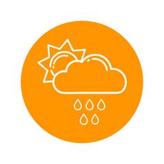 cartoon sun vector with a rainy cloud outline vector