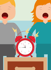 little boy and girl with alarm clock on bedside table vector illustration