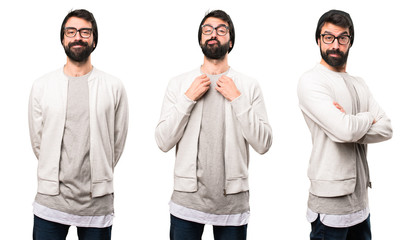 Set of Hipster man proud of himself