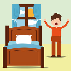 young man happy waking up standing next bed with arms up vector illustration