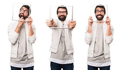 Set of Happy Hipster man with framework