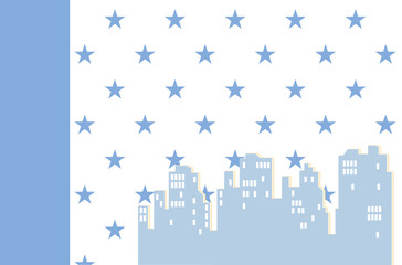 Seamless wallpaper with houses for a child's room. Vector illustration. Baby boys bedroom interior wall-papers for walls. The silhouette of the night city