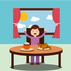 little girl happy to eat breakfast in the morning vector illustration