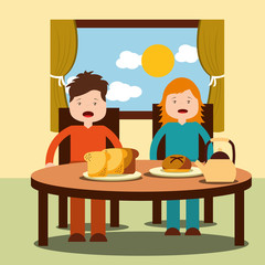Two children, a girl and a boy enjoy their healthy breakfast of cereal, milk, juice, and fruits. vector illustration