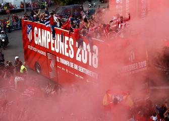 Atletico Madrid Celebrate Winning The Europa League