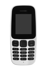old black and white phone, gadget with buttons with monochrome display isolated on white background. close-up.
