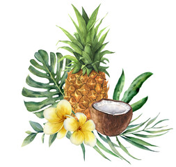 Watercolor tropical bouquet with flowers, leaves and fruit. Hand painted monstera, palm branch, frangipani, pineapple and coconut isolated on white background for design, fabric, or background.