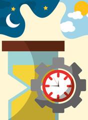 hour glass clock gear work time vector illustration